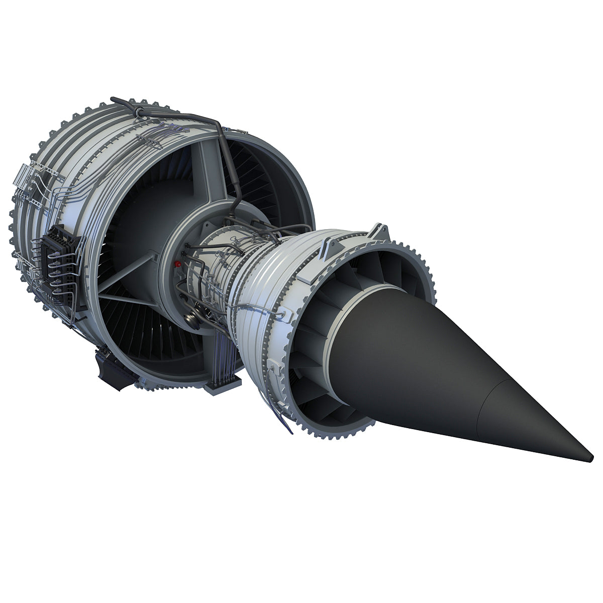 3D Aircraft Jet Turbofan Engine Model