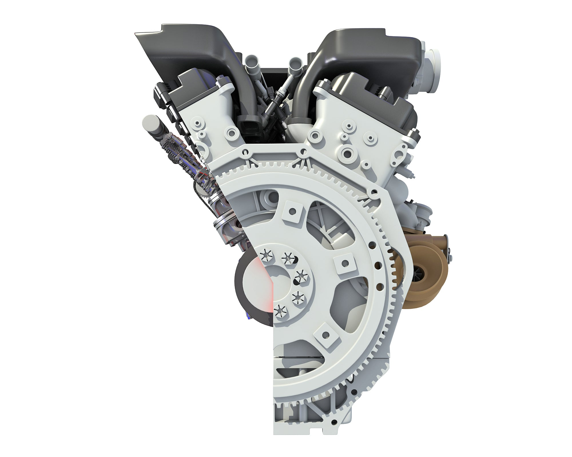 Cutaway Animated V12 Engine 3D Model