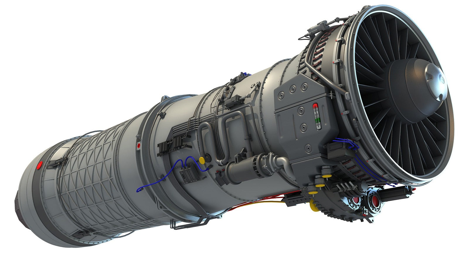 f100 Afterburning Turbofan Engine 3D Model