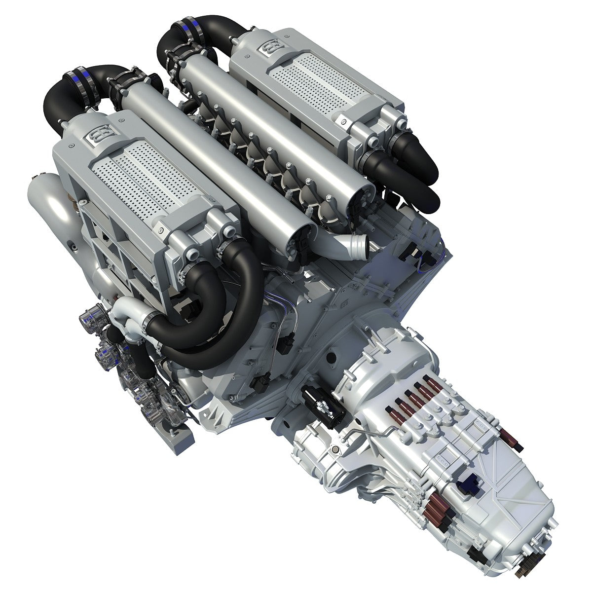 Bugatti W16 Engine 3D Model
