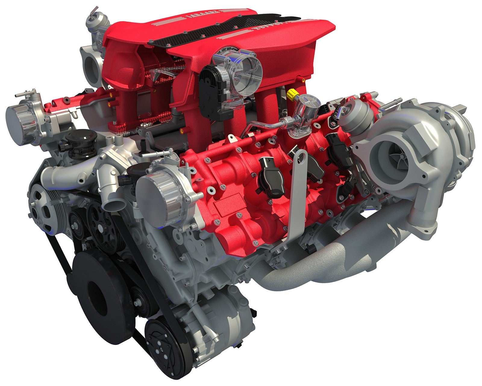 3D Ferrari Turbocharged Engine Model
