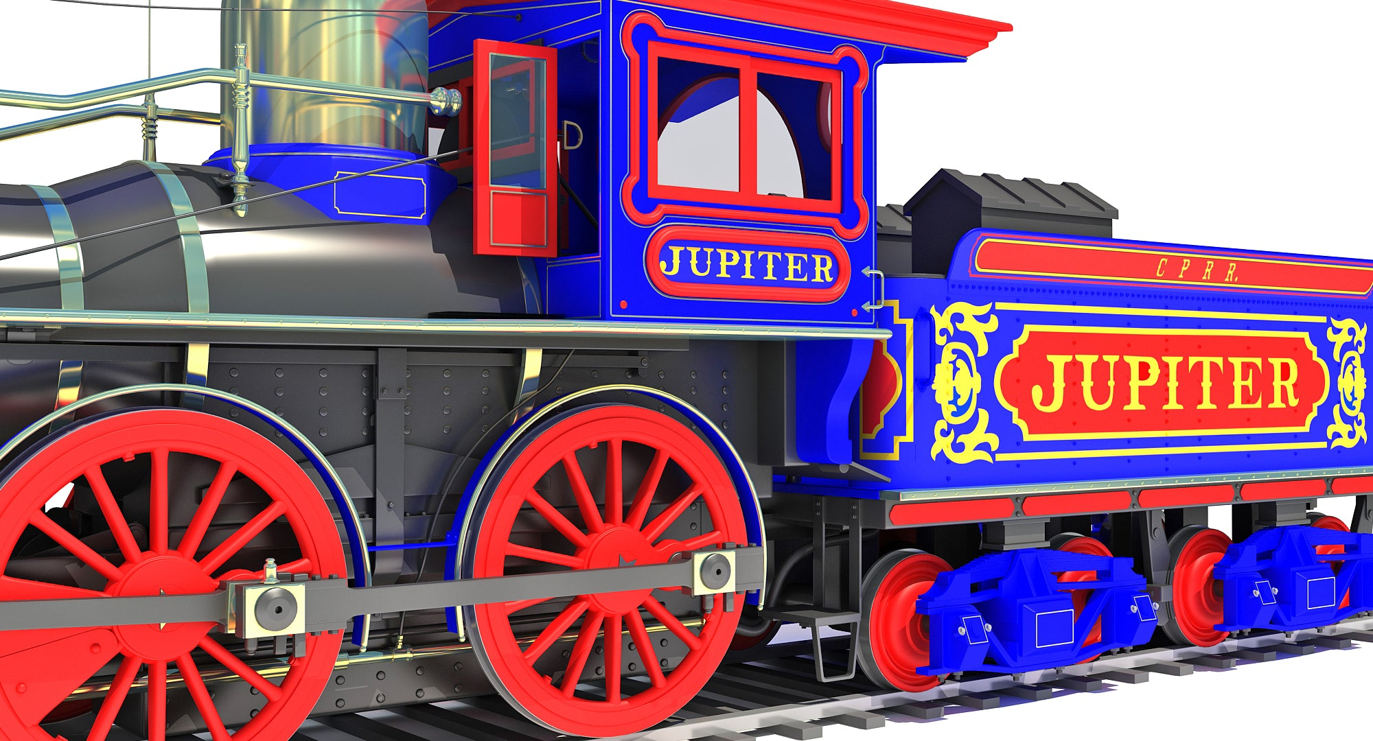 Jupiter Steam Locomotive Train 3D Model