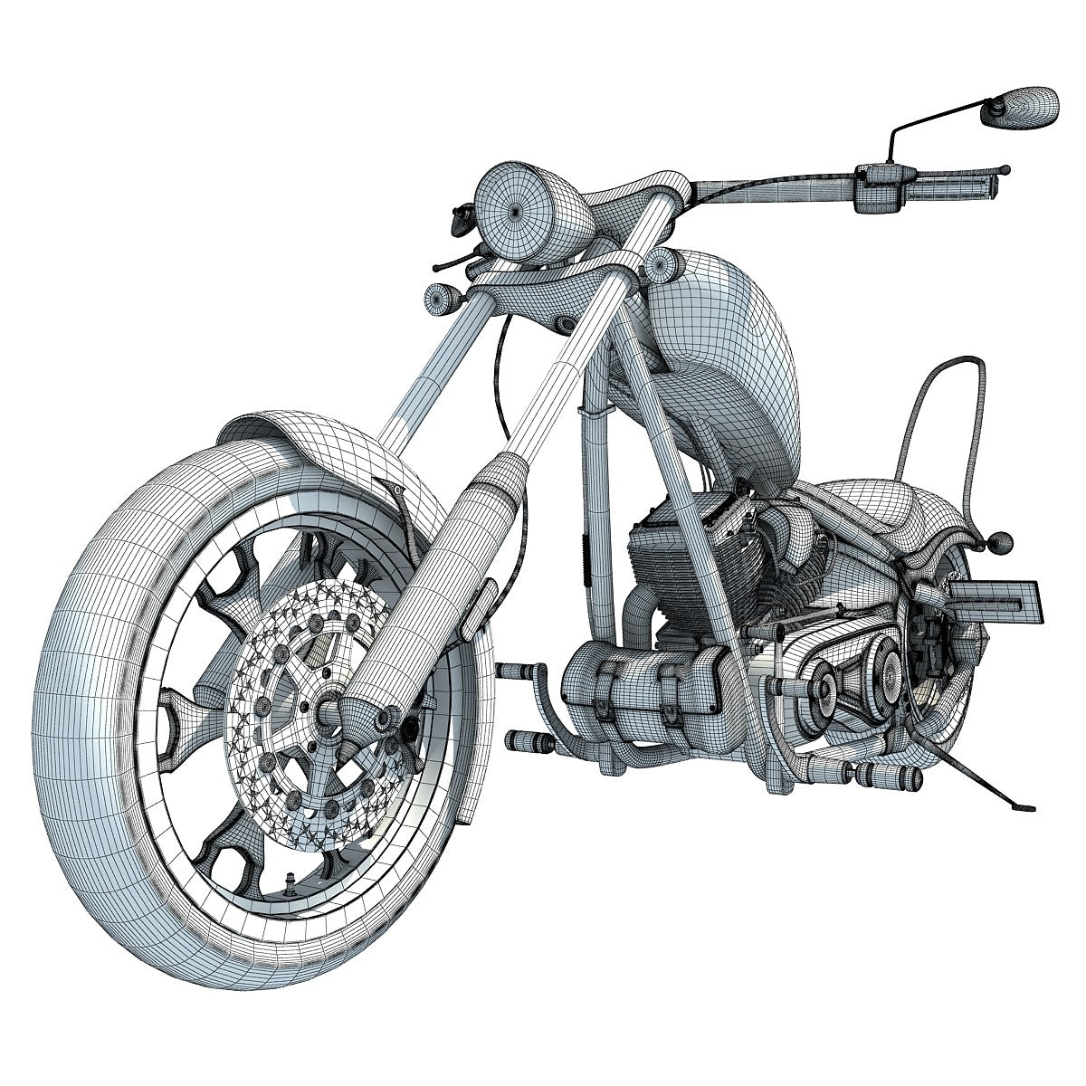 Big Dog Motorcycle 3D Model