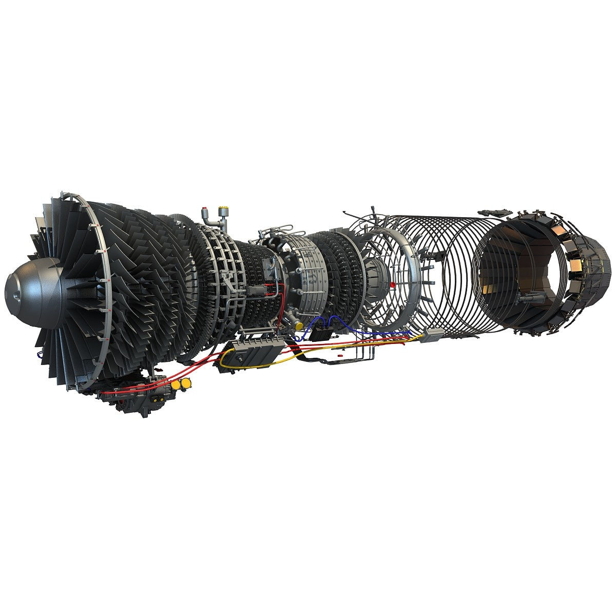 F100 Turbofan Engine 3D Model