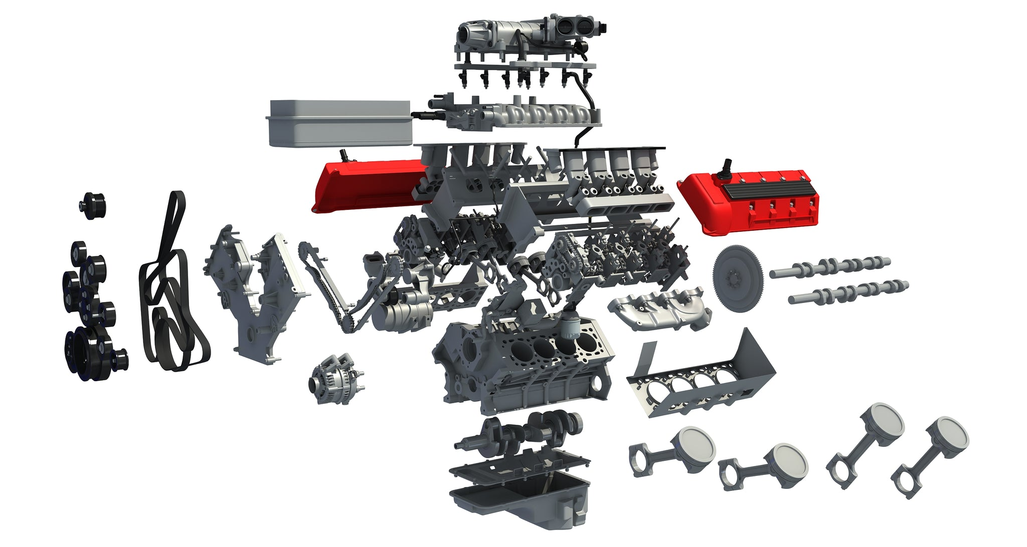 V8 Engine with Interior Parts
