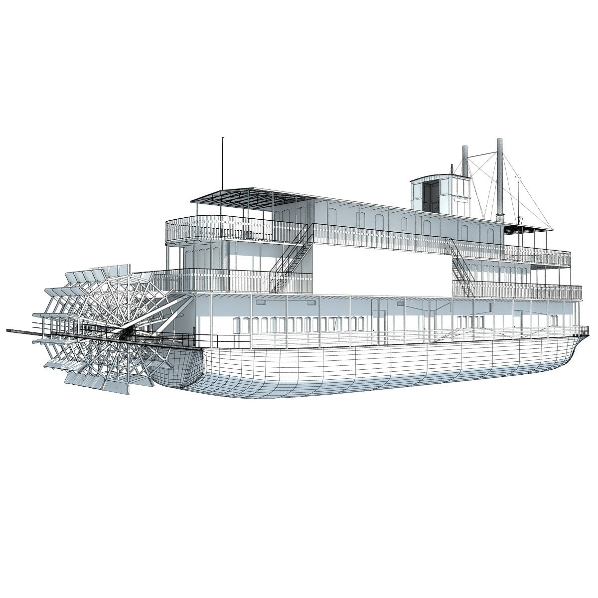 Steam Boat 3D Model