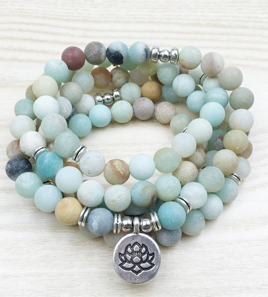 Bracelet Mala Lotus 108 perles Amazonite Naturelle  | MY YOGA TIME