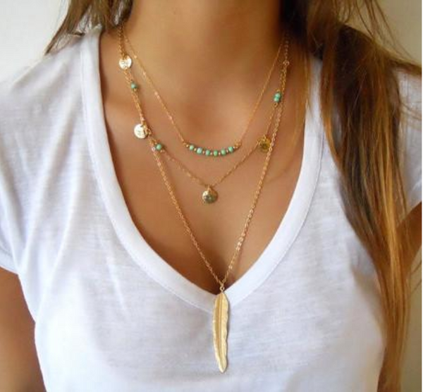 Collier Plume Turquoise - Boho Chic