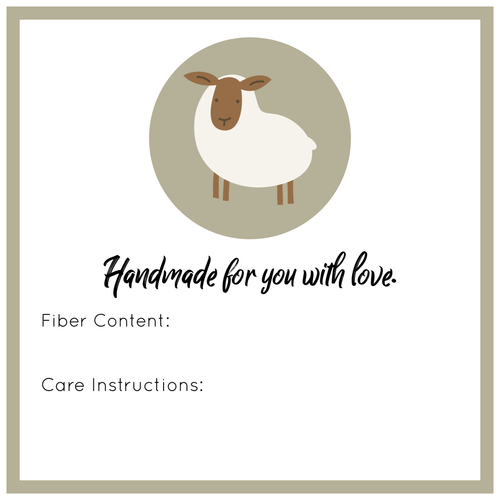 Handmade for You with Love Tags - Fiber and Care Instructions