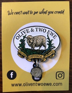 Olive & Two Ewe Enamel Pin w/Dangle