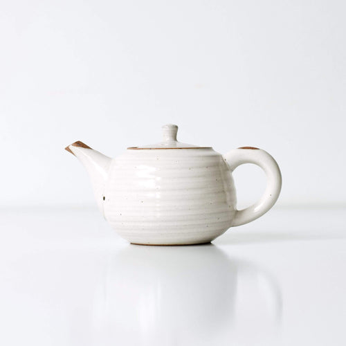 WHITE GLOSSY KYUSU 300ml | Japanese Teapot - Zen Wonders Tea