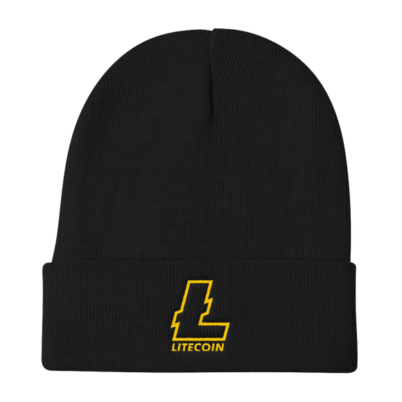 Litecoin Gold Embroidered Black Beanie