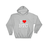 I Heart BTC Bitcoin Hoodie Heather Grey