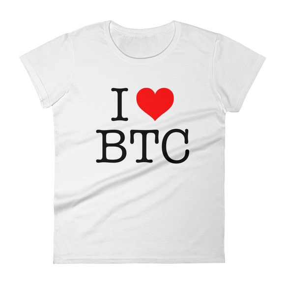 I Heart BTC Bitcoin Ladies Tshirt White