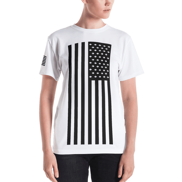 Ethereum American Flag Tshirt Women's- Nakamoto Clothing Co.
