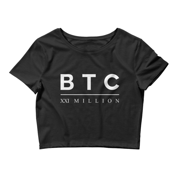 Bitcoin BTC XXI Women's Crop Top T-Shirt Black