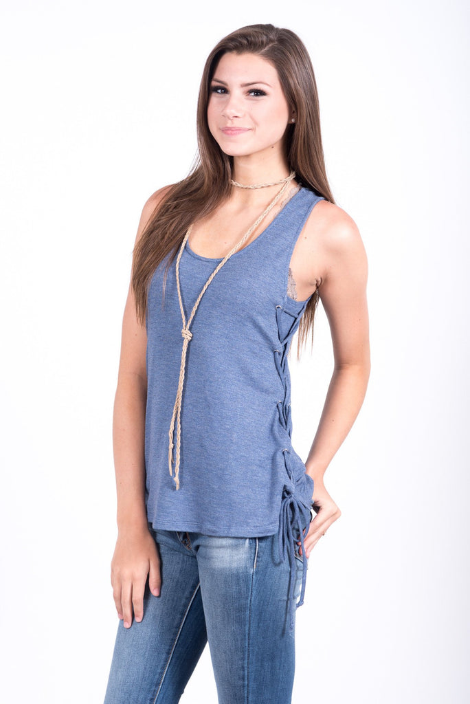Grapevine Top in Deep Blue