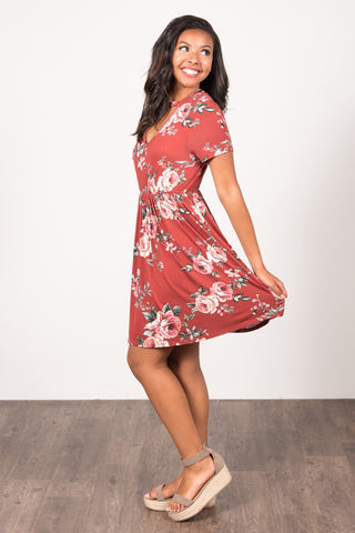 Field of Roses Dress in Rust