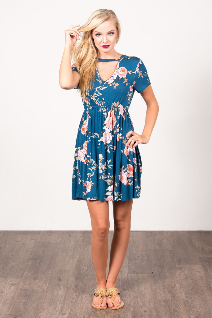 Field of Roses Dress in Teal