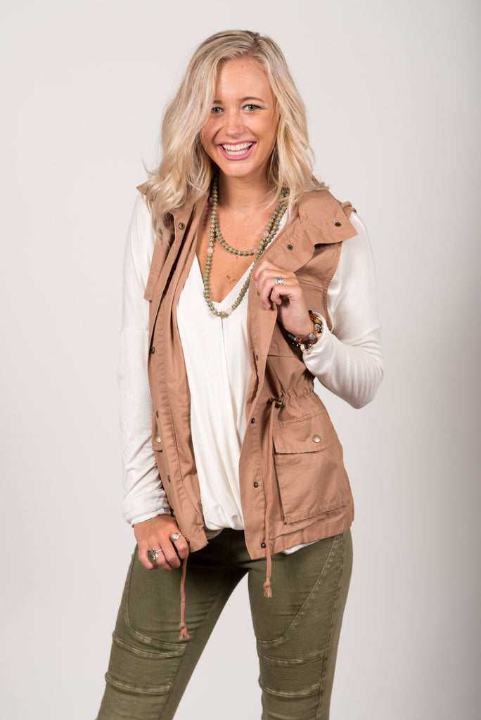 In Control Cargo Vest in Taupe