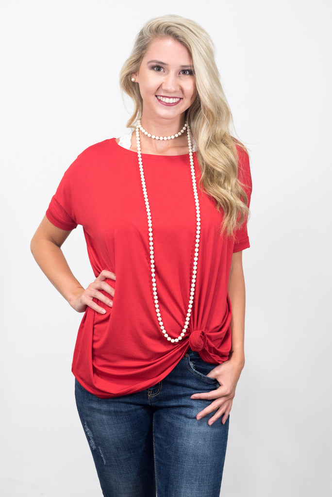 Piko Knot Top in American Red