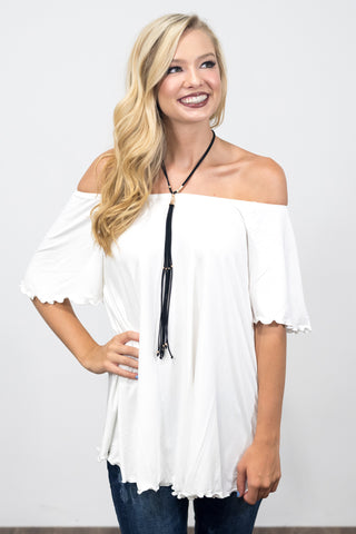 Flutter Piko Top in Off White