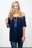 Flutter Piko Top in Navy