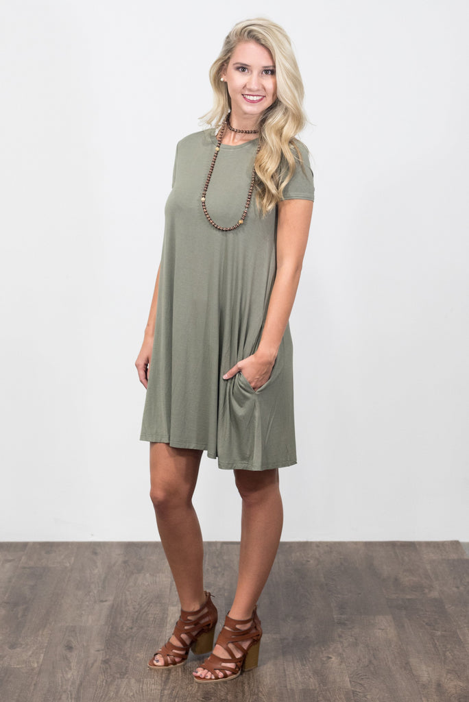 Swing Style Piko Dress in Olive Moss