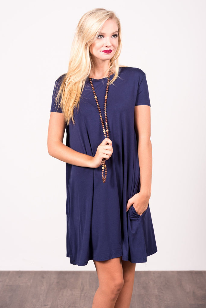 Swing Style Piko Dress in Navy