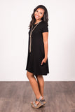 Swing Style Piko Dress in Black