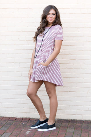 Simply Stripes Dress in Raspberry
