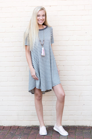 Simply Stripes Dress in Charcoal