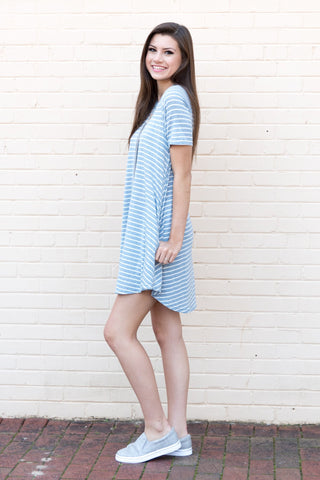 Simply Stripes Dress in Light Blue