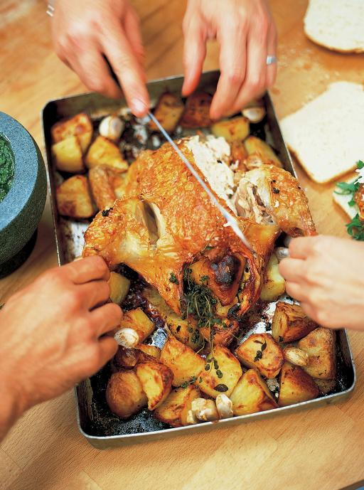 Recipe: Roast chicken with lemon and rosemary roast potatoes
