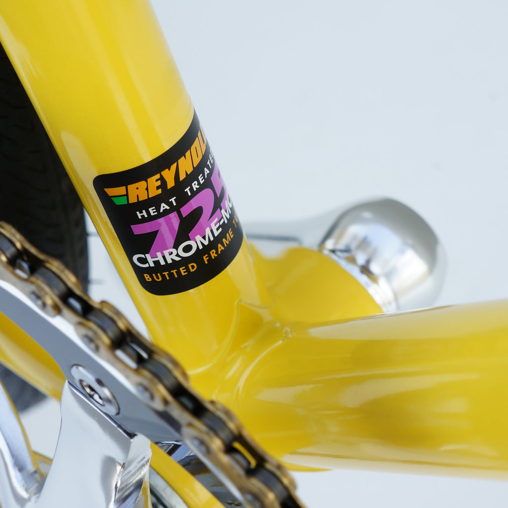 The ultimate in steel bicycle frame construction is our beautiful, lightweight yellow lugged frame, formerly the basis of the Wabi Special. Lugged steel bike frames offer a road feel unlike any other design, but not all lugged steel frames are created equal. The Wabi Retro is a purist's single-speed road bike.