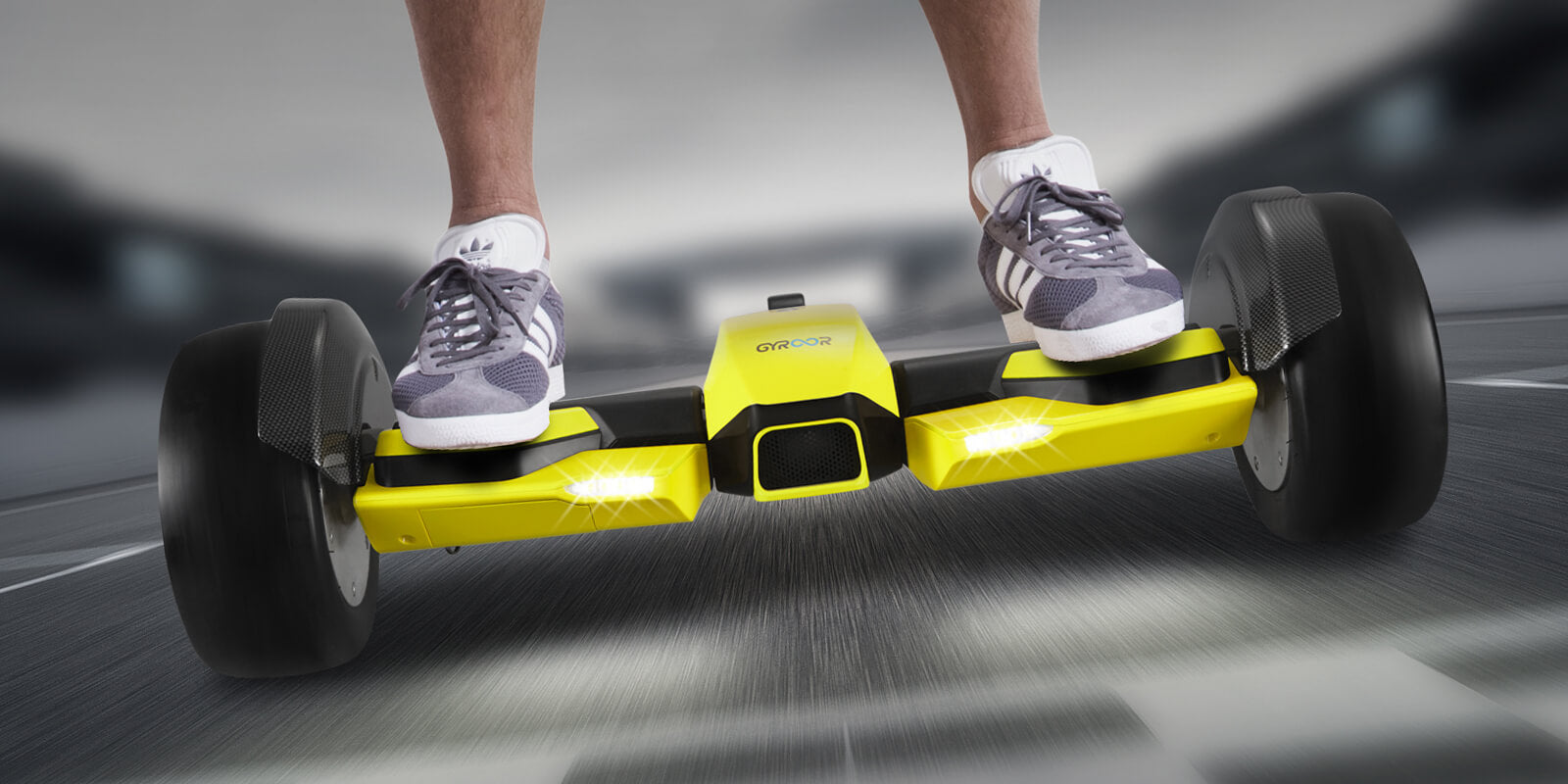 F1 racing hoverboard yellow