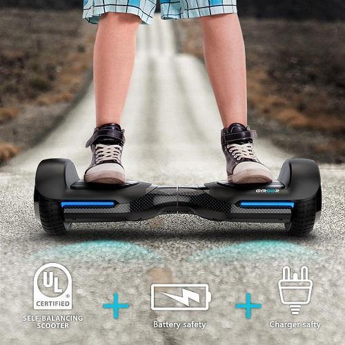 GYROOR T580 HOVERBOARD SELF BALANCING SCOOTER WITH MUSIC SPEAKER LED  LIGHTS, 6 5 INCH TWO-WHEEL ELECTRIC SCOOTER FOR KIDS ADULT -RECERTIFIED