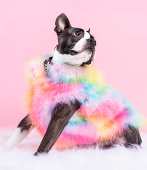 OVER THE RAINBOW FAUX FUR JACKET