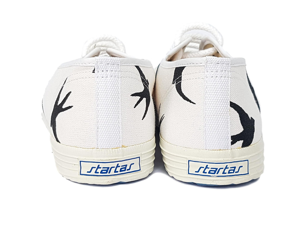 Startas black birds canvas sneakers vegan