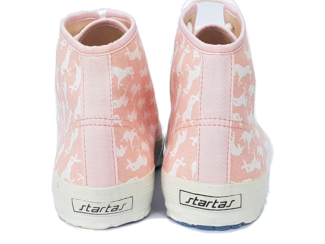 Startas Pink Unicorn high top canvas vegan sneaker