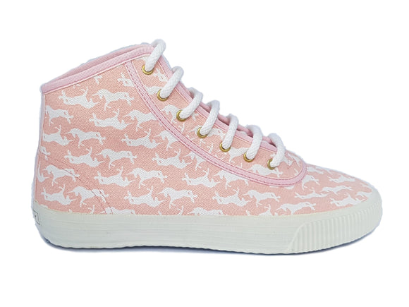 Startas Pink Unicorn high top canvas sneaker