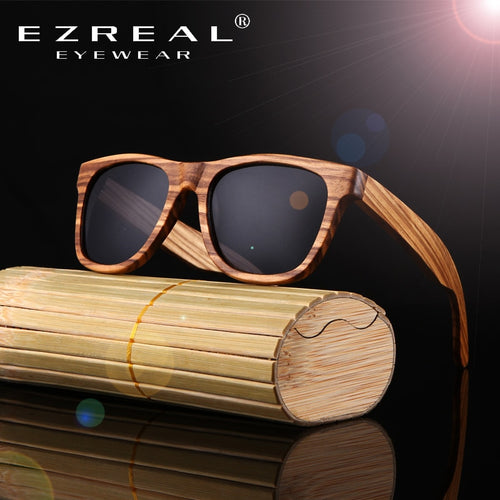 EZREAL Real Top Bamboo Wood Sunglasses
