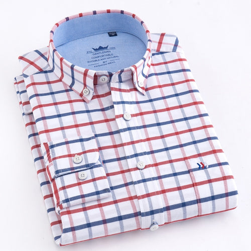 Men's Long Sleeve Oxford Plaid Striped Button Down Shirt