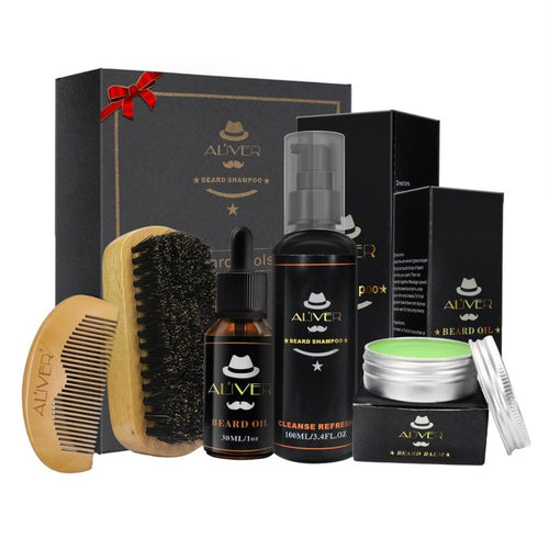 Aliver 5 Pcs Gentleman's Beard Kit Set