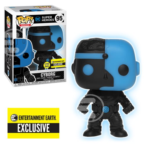 Justice League Cyborg Silhouette Glow in the Dark Pop!-EE Exclusive-In Stock