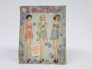 3 Wood Dolls Complete Wardrobe for Each Doll