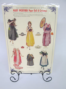 Old Fashioned Embossed Cut-Out Mary Pickford Paper Doll and Costumes Sheet