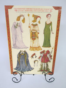 Old Fashioned Embossed Shakespeare Characters Cut-Out Paper Doll and Costumes Sheet