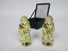 Santa Claus Metal Salt and Pepper Shakers Gold tinted metal (Bombay Company)