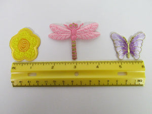 3 Patches Butterfly Dragonfly and Flower
